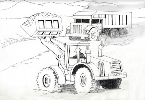 Front End Loader and Truck Coloring Page